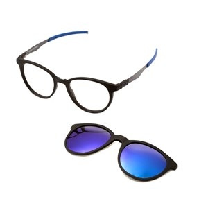 Óculos de Grau HB Duotech 0253 Clip On Matte Black D. Blue Polarized Blue